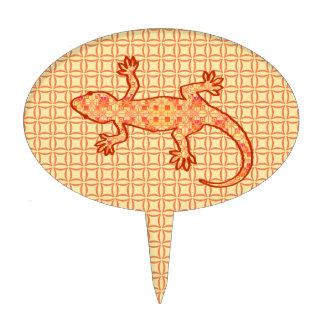 Gecko tribal del batik - coralino y anaranjado palillos de tarta