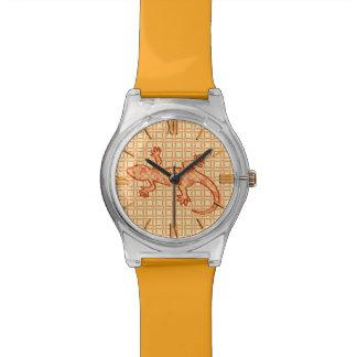 Gecko tribal del batik - coralino y anaranjado relojes de mano