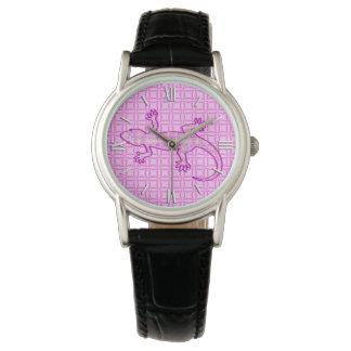 Gecko tribal del batik - rosa de la orquídea y de reloj de mano