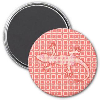 Gecko tribal del batik - rosado y poner crema imán redondo 7 cm