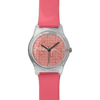Gecko tribal del batik - rosado y poner crema relojes