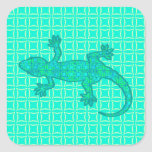Gecko tribal del batik - turquesa/pavo real pegatina cuadrada