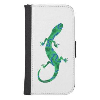Gecko verde billetera para teléfono