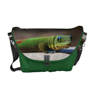 Gecko verde bolsas de mensajería