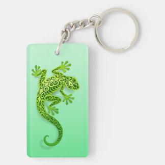 Gecko verde que sube llavero rectangular acrílico a doble cara
