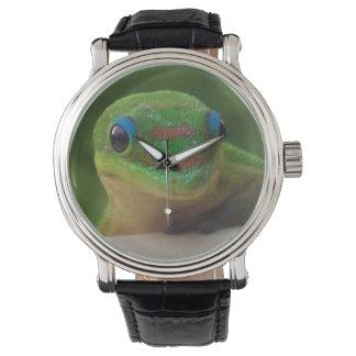 Gecko verde reloj de mano