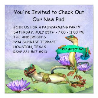 Gecko Water Lily Pad Fun Housewarming Party Card