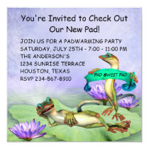 Gecko Water Lily Pad Fun Housewarming Party Invitation