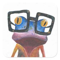 Gecko with Glasses Retro Sticker