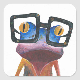 Gecko with Glasses Retro Sticker
