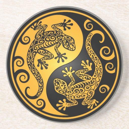 Geckos amarillos y negros de Yin Yang Posavasos Cerveza