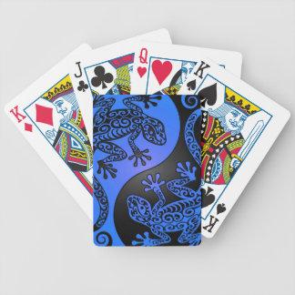 Geckos azules y negros de Yin Yang Baraja De Cartas