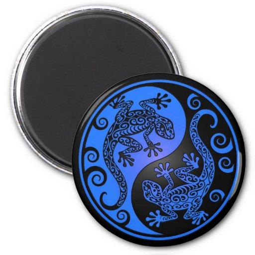 Geckos azules y negros de Yin Yang Iman De Nevera