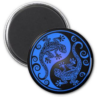 Geckos azules y negros de Yin Yang Imán Redondo 5 Cm