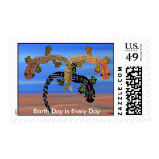 Geckos Celebrate Earth Day Postage Stamps
