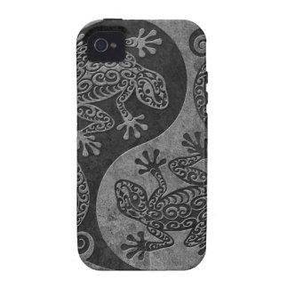 Geckos de piedra oscuros ásperos de Yin Yang iPhone 4/4S Carcasas