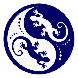 """Geckos de YIN y de YANG blancos + su idea Invitación 5.25"""" X 5.25"""""""