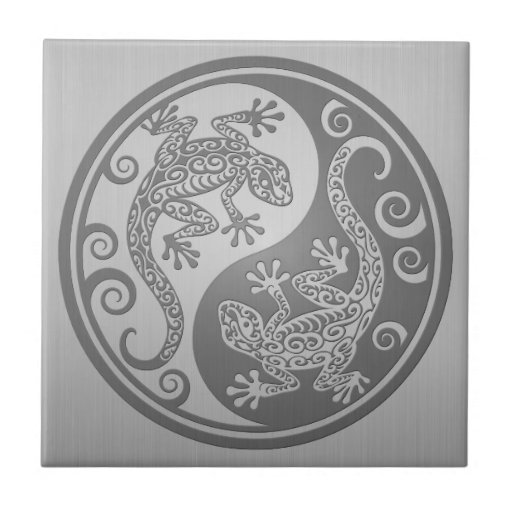 Geckos de Yin Yang, efecto del acero inoxidable Tejas Cerámicas
