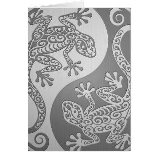 Geckos de Yin Yang, efecto del acero inoxidable Felicitacion