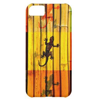 Geckos en arte gráfico de la pared de bambú carcasa para iPhone 5C