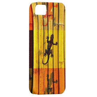 Geckos en arte gráfico de la pared de bambú funda para iPhone SE/5/5s