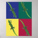 Geckos en el poster de los cuadrados