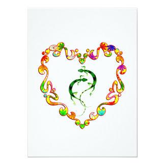 Geckos in Fancy Heart Custom Invite