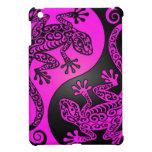 Geckos negros y magentas de Yin Yang iPad Mini Cárcasas