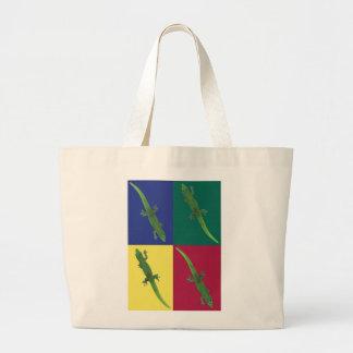 Geckos on Squares Tote Bag Jumbo Tote Bag