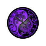 Geckos púrpuras y negros de Yin Yang Reloj