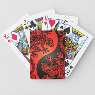 Geckos rojos y negros de Yin Yang Barajas De Cartas