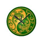 Geckos verdes y amarillos de Yin Yang Relojes