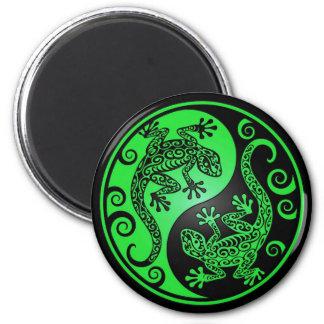 Geckos verdes y negros de Yin Yang Imán Redondo 5 Cm