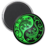 Geckos verdes y negros de Yin Yang Imanes