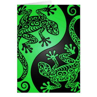 Geckos verdes y negros de Yin Yang Tarjeton