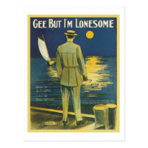 Gee But I'm Lonesome Vintage Songbook Cover Postcard