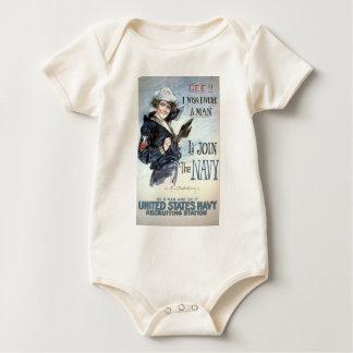 Gee!! I wish I were a man, I'd join the Navy Baby Bodysuit