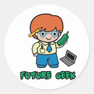 Geek (boy) round sticker