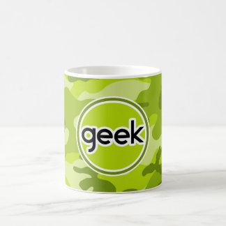Geek; bright green camo, camouflage coffee mug