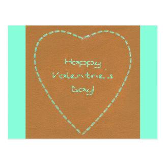 Geek Broken Lines Green Heart Valentine Postcards