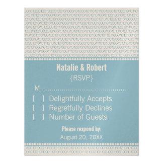 Geek Chic Binary Code Response Card, Blue Invite