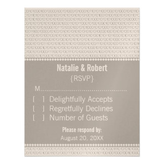 Geek Chic Binary Code Response Card, Gray Personalized Invitations