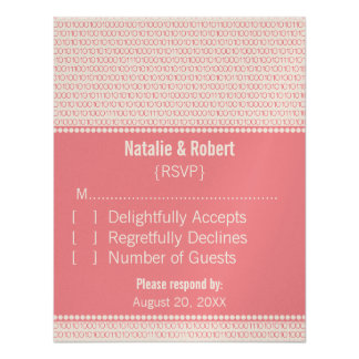 Geek Chic Binary Code Response Card, Pink Announcements