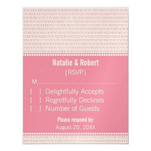 "Geek Chic Binary Code Response Card, Pink 4.25"" X 5.5"" Invitation Card"