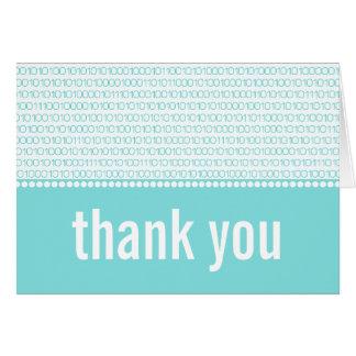 Geek Chic Binary Code Thank You Card, Aqua Stationery Note Card