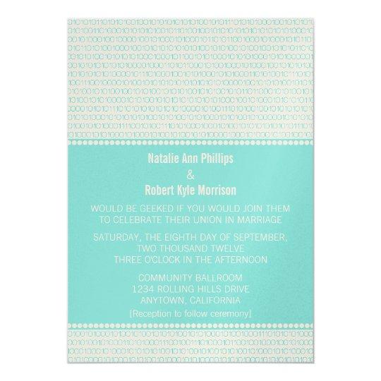 Geek Chic Binary Code Wedding Invitation, Aqua Card