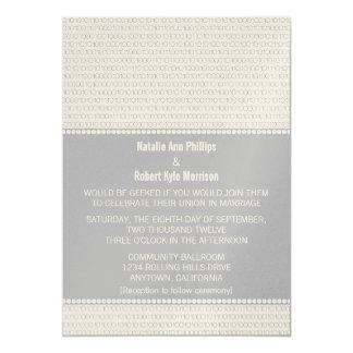 Geek Chic Binary Code Wedding Invitation, Gray Card