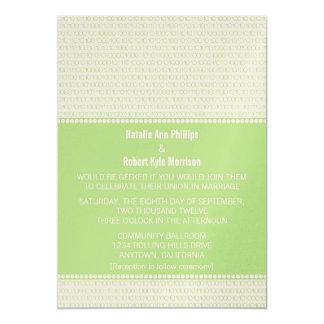 Geek Chic Binary Code Wedding Invitation, Green Card