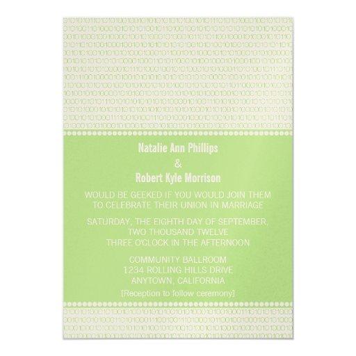 Geek Chic Binary Code Wedding Invitation Green Card