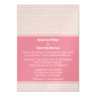 Geek Chic Binary Code Wedding Invitation, Pink Card